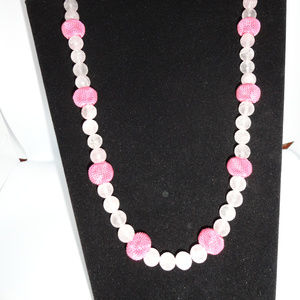 "35"" Pink Breast Cancer Necklace donate funds"